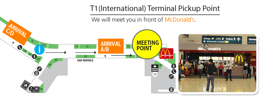 Sydney Airport Pickup T1 (International) Terminal Pickup Point