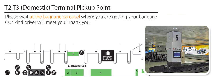 Sydney Airport Pickup T2 and T3 (Domestic) Terminal Pickup Points